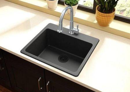 NEW - Quartz Classic Drop-in Composite 25 in. Single Bowl Kitchen Sink